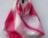 Hot Pink and White Small Fabric Bag with Leather Handle