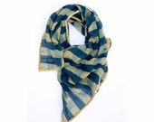 Scarf SAMPLE SALE indigo scarf blue scarf Indigo scarf Hand Printed wrap natural dyes Scarf - women accessory gift - Checkmate