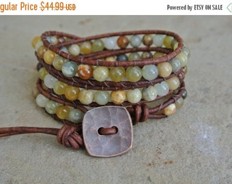 30% OFF SALE Juniper Jasper Beaded Leather Wrap Bracelet