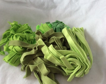 Lot of Green Fleece Bedding Strips for your Hedgehog or Caged Pet Mixed Lot Gallon Bag