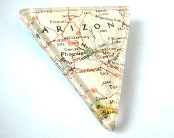 Arizona - Phoenix - Map - Brooch Pin - Acrylic - Resin - Grand Canyon State - Glossy - Triangle - 1980s - Unique - Southwestern - Statement