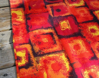 Vintage Sixties Bark Cloth Fabric Pillowcase Bedding Psychedlic Red and Orange.