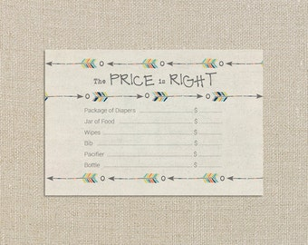 Baby Boy Shower Price is Right - Fall Tribal Aztec and Arrows - Digital Printable File