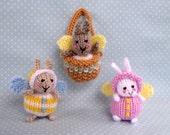 Fairy Bunnies and basket knitting pattern - INSTANT DOWNLOAD