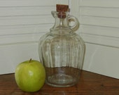 Vintage Clear Glass Vinegar Bottle, Jug, Cork Stopper Quart Size