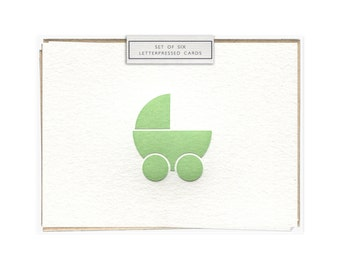 Pram (green) letterpress card - set of six