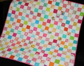 Baby Girl or Toddler Quilt in Pink Aqua Green Yellow and Orange, Checkerboard Baby Quilt, Quilted Baby Blanket, Modern Baby Girl Quilt