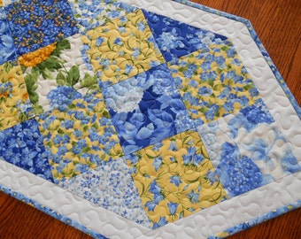 Blue and Yellow Quilted Table Runner, Moda's Summer Breeze, Hydrangeas and Other Flowers, Quilted Table Mat, Quilted Tablecloth