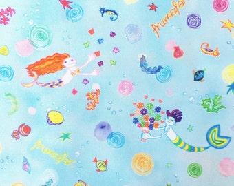 Mermaid's Birthday - ocean blue - Cotton fabric -