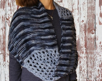 Knit Cowl Pattern, Easy to Knit Pattern for Mobius Wrap, Knitting Pattern for Lace and Garter Infinity Twist 2 Wrap, Knitted Wrap Patterns