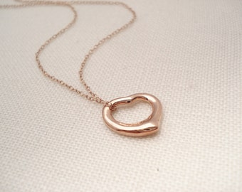 Floating Open heart necklace...Rose gold over Sterling silver, simple everyday, layering, wedding, bridesmaid gift