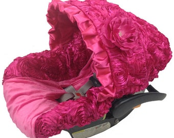 Ritzy Baby Hot Pink Roses Infant Car Seat Cover, Includes Matching Strap Set
