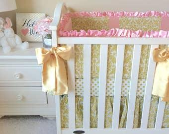 Pink & Gold Baby Bedding, Flat Bumper Crib Bedding, Girl's Baby Bedding, Pink Crib Bedding Sets, Crib Bedding for Girl, Fancy Baby Bedding