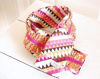 Ruffled Fabric Camera Strap Cover - Pink, Orange, Black and Orange Geometric with Orange Ruffle