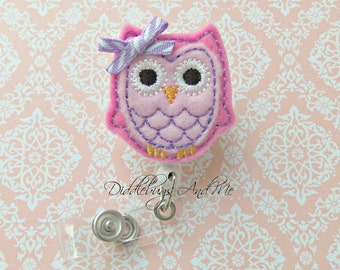 Pink Owl Badge Reel, Owl Retractable Badge Reel, Pink And Lavender Owl ID Badge Reel, Owl Badge Reel, Retractable Badge Reel, Nurse ID