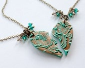 BFF Matching Necklace Set in Teal and Copper with Jewel Charms