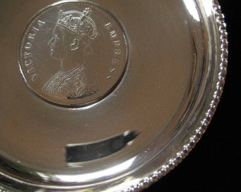 1876 Empress Victoria Indian One Rupee Sterling Coin Dish