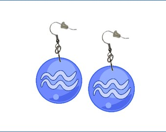 Zodiac Earrings Aquarius Dangle Earrings Astrology Earrings Zodiac Symbol Aquarius