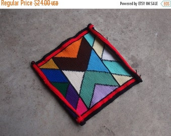 SALE SALE SALE Vintage Crocheted Piece Sewing Supplies Tribal Multicolored Bright Stained Glass Window Design Chevron Geometric Triangles Te