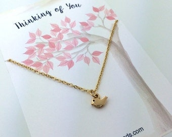 Tiny Bird Necklace- small Gold or Silver bird charm necklace - choose carded Thinking of You or in a silver gift box