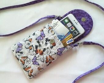 Iphone 6 Plus Butterflies Smart Phone Gadget Case Detachable Neck Strap Quilted Fabric  Purple White Black