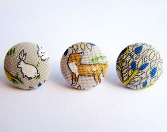 Button Earrings / Clip On Earrings / Stud Earrings - Mix and Match Earrings - Fox and Rabbit - Set of 3