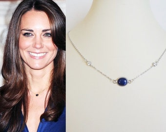 Kate Middleton Inspired Lapis or Sapphire Crystal Necklace
