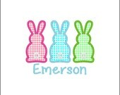SAMPLE SALE ---Girl EASTER  Three Bunny Shirt -Free Personalization!!!