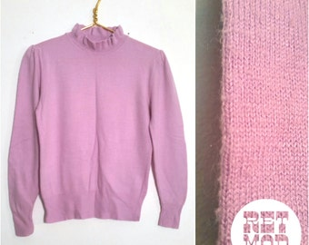 Super Comfy Vintage Lavender Pastel Purple Acrylic Sweater with Ruffle Neck! So Cute!