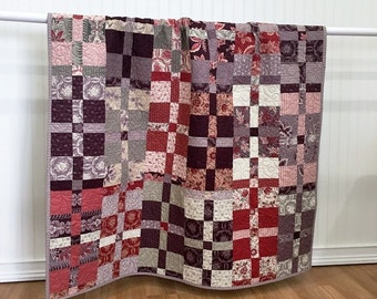 "Quilt Throw, Ville Fleurie HANDMADE Patchwork Quilt French General Moda Red, purple, lavender, cream 51x51"""""