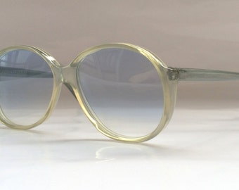80s Vintage German Köln Optik Metallic White Round Frame Sunglasses