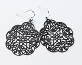 Matte Black Oriental Filigree Earrings Silver Titanium Elegant Boho Statement