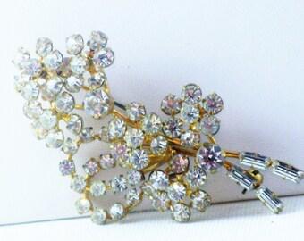 Vintage Clear Rhinestone Floral Bouquet Brooch Pin (B-3-4)