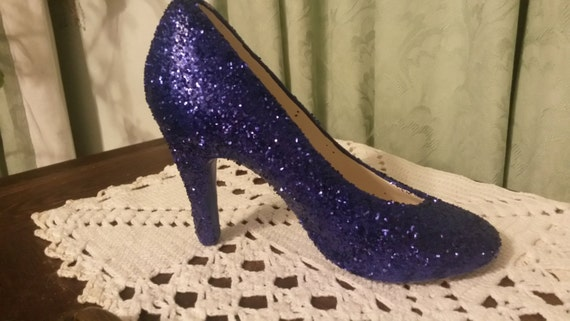 navy blue glitter ceramic high heel shoe by pollysceramics