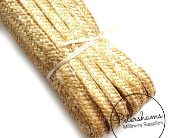Full Hank (80m/87yards) Traditional Millinery Straw Braid for Hat Making & Trimming (6-7mm width) - Natural