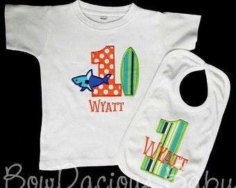 Ocean Birthday Outfit, Ocean Birthday Set, Surfboard Birthday Shirt or Bodysuit, Shark Birthday Shirt or Bodysuit, First Birthday, Custom