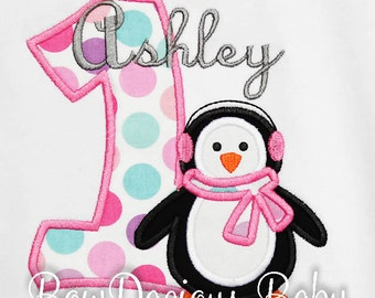 Baby Girl Penguin Birthday Outfit, Birthday Penguin Shirt, Penguin Birthday Outfit, Baby Girl Penguin Birthday Bodysuit, Any Age, Any Colors