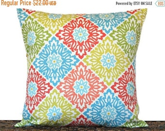 Christmas in July Sale Floral Pillow Cover Cushion Modern Coral Lime Green Chartreuse Aqua Beige Diamond Tile Pattern Decorative 18x18