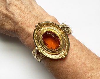Vintage Amber and Gold Filiagree Cuff Bracelet Costume Jewelry
