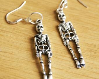 Silver Plated Hanging Skeleton Charm Earrings Drop/Dangle Novelty Ladies Girls Gift Halloween Costume Skull