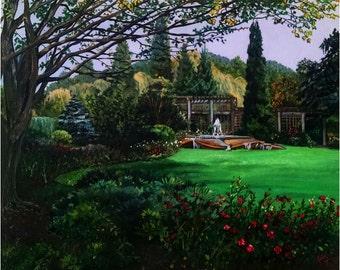 Rose Garden Landscape - 30x24in Original Plein Air Painting