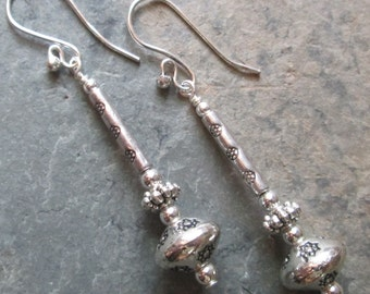 Silver Boho Earrings ~ Silver Beaded Long Earrings -  Bohemian, Hippie Style Jewelry