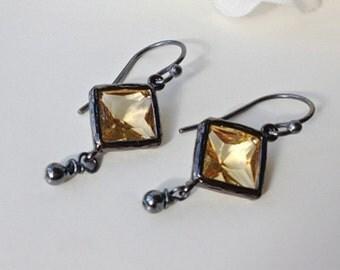 Citrine Earrings, November Earrings, November Birthstone, Citrine Jewelry, Birthstone Earrings, November Birthstone, Black Earrings
