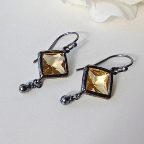 Citrine Earrings, November Earrings, November Birthstone, Citrine, Citrine Jewelry, Birthstone Earrings, November Birthstone, Black Earrings