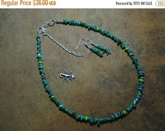 Valentine 20%Off-End 2-11 Turquoise Gemstone Chips,.925 Silver necklace and Earrings