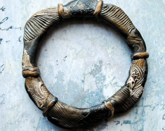 Primitive Bangle, bracelet, rustic, ancient, artifact, polymer clay, bronze, dark pewter, gold accents