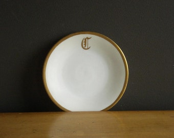 C is for... - Vintage Monogrammed Plate or Dish with Gold Border - UNO Favorite Bavaria - 2837