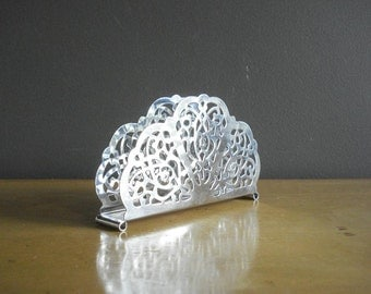 Vintage Napkin Holder - Chrome Plated Mail Holder - Letter Holder