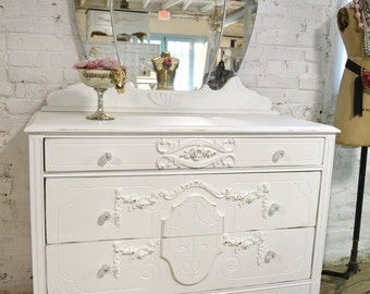 Painted Cottage Chic Shabby French Dresser with Tiara Mirror DR855