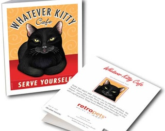 """Cat Art """"Whatever Kitty Cafe"""" 6 Small Greeting Cards by Krista Brooks"""